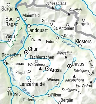 Davos - Arosa - Lenzerheide-Prättigau Nr. 13 Wanderkarte 1:60 000