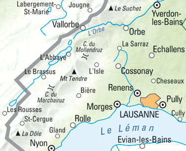 Lausanne-Vallée de Joux Wanderkarte Nr. 15