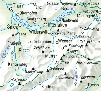 Jungfrau-Region Wanderkarte Nr. 18