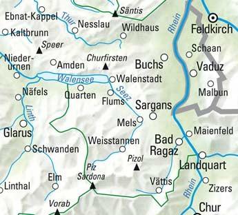 Sarganserland - Lichtenstein Nr. 30 Wanderkarte 1:60 000